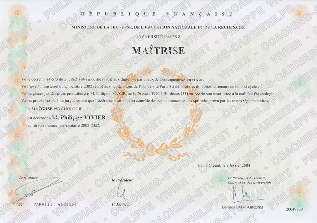 diplome universitaire psychologie paris 8